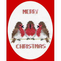 Robin Trio Christmas Card Cross Stitch Kit