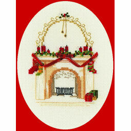Christmas Fireplace Cross Stitch Card Kit