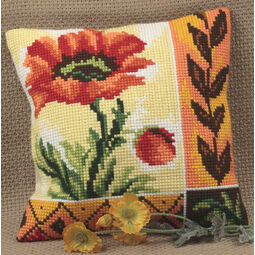 New Poppy Cushion Panel Cross Stitch Kit