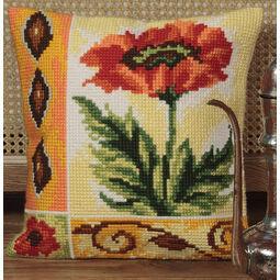 Valiant Poppy Cushion Panel Cross Stitch Kit