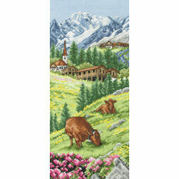 Swiss Alpine Landscape Cross Stitch Kit