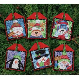 Christmas Pals Ornament Cross Stitch Kits (Set of 6)