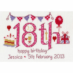 18th Birthday Pink Cross Stitch Kit