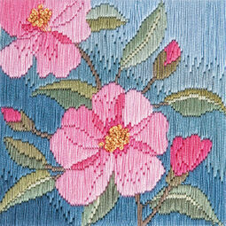 Camellias Long Stitch Kit