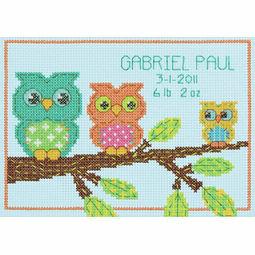 Mini Owl Birth Record Cross Stitch Kit