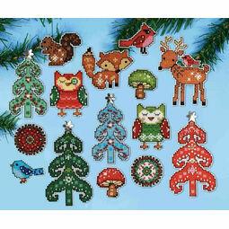 Woodland Christmas Ornaments Cross Stitch Kit