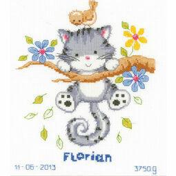 Kitten Birth Record Cross Stitch Kit