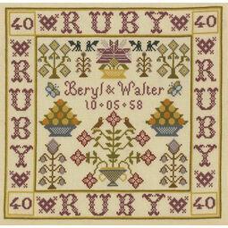 Ruby Anniversary Sampler Cross Stitch Kit