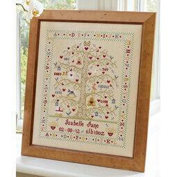 Tree A-Z Girl Birth Sampler Cross Stitch Kit