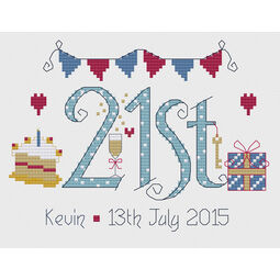 21st Birthday Blue Cross Stitch Kit