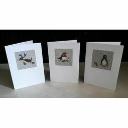 Christmas Trio Mini Beadwork Embroidery Christmas Card Kits (Rudolf, Stanley & Bob) WITH FREE PUDDING CARD FOR LIMITED TIME ONLY