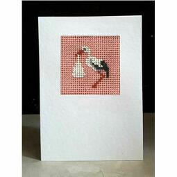 Ophelia The Stork (Pink) Mini Beadwork Embroidery Card Kit