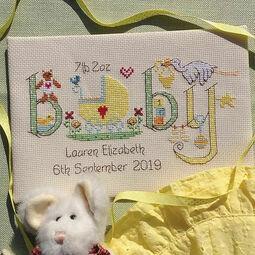 Baby Neutral Birth Sampler Cross Stitch Kit