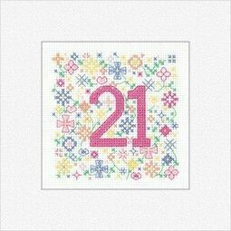 21st Birthday Card Cross Stitch Kit