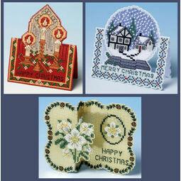 3D Xmas Set Of 3 Cross Stitch Card Kits