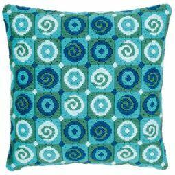 Blue Swirls Long Stitch Cushion Panel Kit
