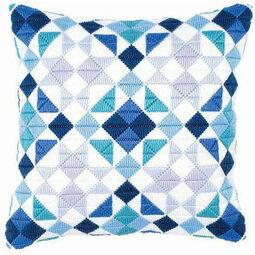 Blue Triangles Long Stitch Cushion Panel Kit