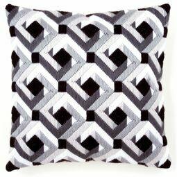 Black And White Long Stitch Cushion Panel Kit