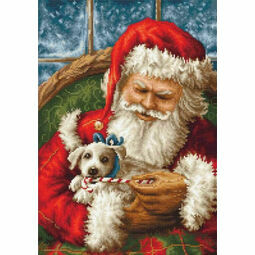 Santa Claus And Puppy Cross Stitch Kit