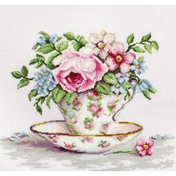 Blooms In A Teacup Cross Stitch Kit