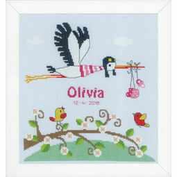 Stork Birth Sampler Cross Stitch Kit