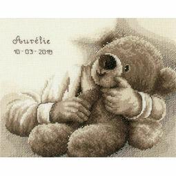 Teddy Bear Birth Sampler Cross Stitch Kit