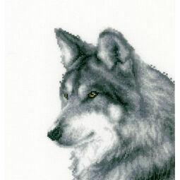Wolf Cross Stitch Kit Monotone