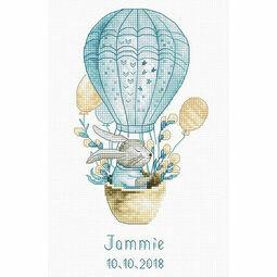 Rabbit In Balloon Birth Sampler Cross Stitch Kit