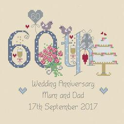 60th Diamond Wedding Anniversary Numbers Cross Stitch Kit