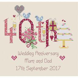 40th Wedding Anniversary Numbers Cross Stitch Kit
