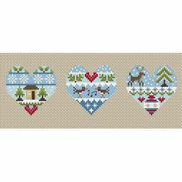 Festive Hearts Winter Cross Stitch Kit