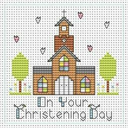 Tall Church Christening Boy Cross Stitch Card Kit