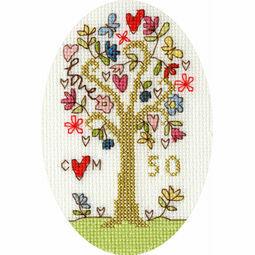 Golden Celebration Cross Stitch Card Kit