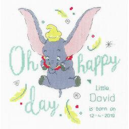 Disney: Dumbo Oh Happy Day Cross Stitch Birth Sampler Kit
