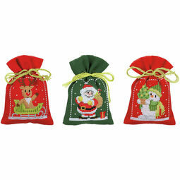 Christmas Figures Pot-Pourri Bags - Set Of 3 Cross Stitch Kits