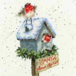Santa Please Stop Here Cross Stitch Kit