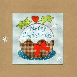 Snowy Pudding Cross Stitch Christmas Card Kit
