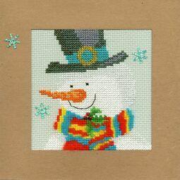 Snowy Man Cross Stitch Christmas Card Kit