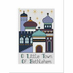 Bethlehem Blue Purple Cross Stitch Christmas Card Kit