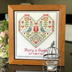 Scandi Heart Wedding Sampler Cross Stitch Kit