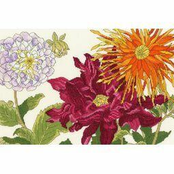 Dahlia Blooms Cross Stitch Kit