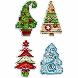 Christmas Tree Magnets Cross Stitch Kit