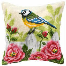 Blue Tit Chunky Cross Stitch Cushion Panel Kit