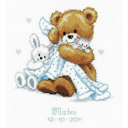 Teddy & Blanket Birth Record Cross Stitch Kit