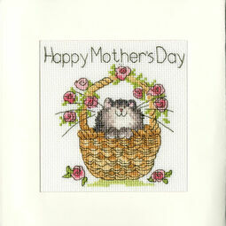 Basket Of Roses Mother's Day Cross Stitch Card Kit