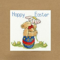 Easter Teddy Cross Stitch Card Kit