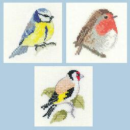 Little Friends Set Of 3 Cross Stitch Kits - Robin, Blue Tit, Goldfinch