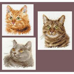 Feline Friends Cross Stitch Kits - Set of 3