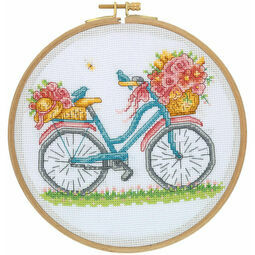 Birds, Blooms & Bicycles Cross Stitch Hoop Kit