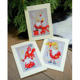 Christmas Gnomes 2 Cross Stitch Christmas Card Kits (Set of 3)